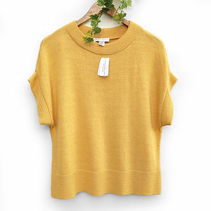 NWT Christopher & Banks Yellow Dolman Knit Sweater